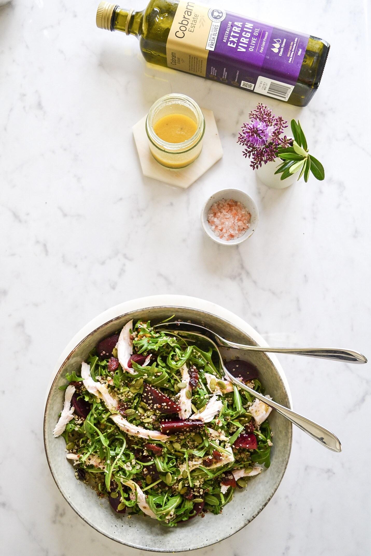 Chicken, Quinoa & Hemp Salad with Honey Mustard Dressing