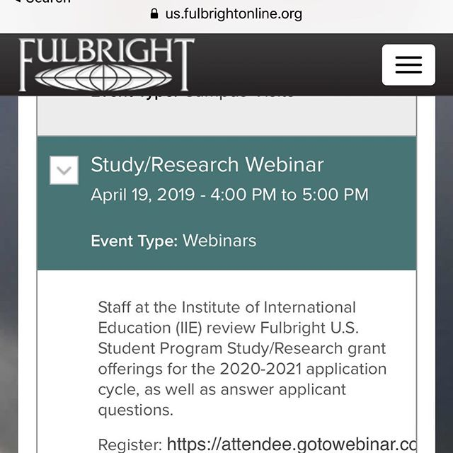 The official @the_fulbright_program is hosting an online information session tomorrow at 1pm PT/ 4 pm ET on the Research/Study Awards. Staff at the Institute of International Education (IIE) will cover Fulbright U.S. Student Program Study/Research grant offerings for the 2020-2021 application cycle, as well as answer applicant questions. These are the people who score applications, so you definitely want to hear from them! Even if you are set on applying for the ETA, I encourage you to check it out and keep your options open. Link in Bio.  https://register.gotowebinar.com/register/5409136911034133004?fbclid=IwAR1Gnk2vrMz1WJ67_awPdVdYBKxgUDdaefV0npvONphNu0gEA6eCEPSFkEg