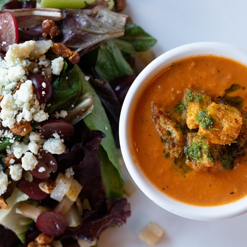 Tomato Citrus Soup with the Murrayhill Salad