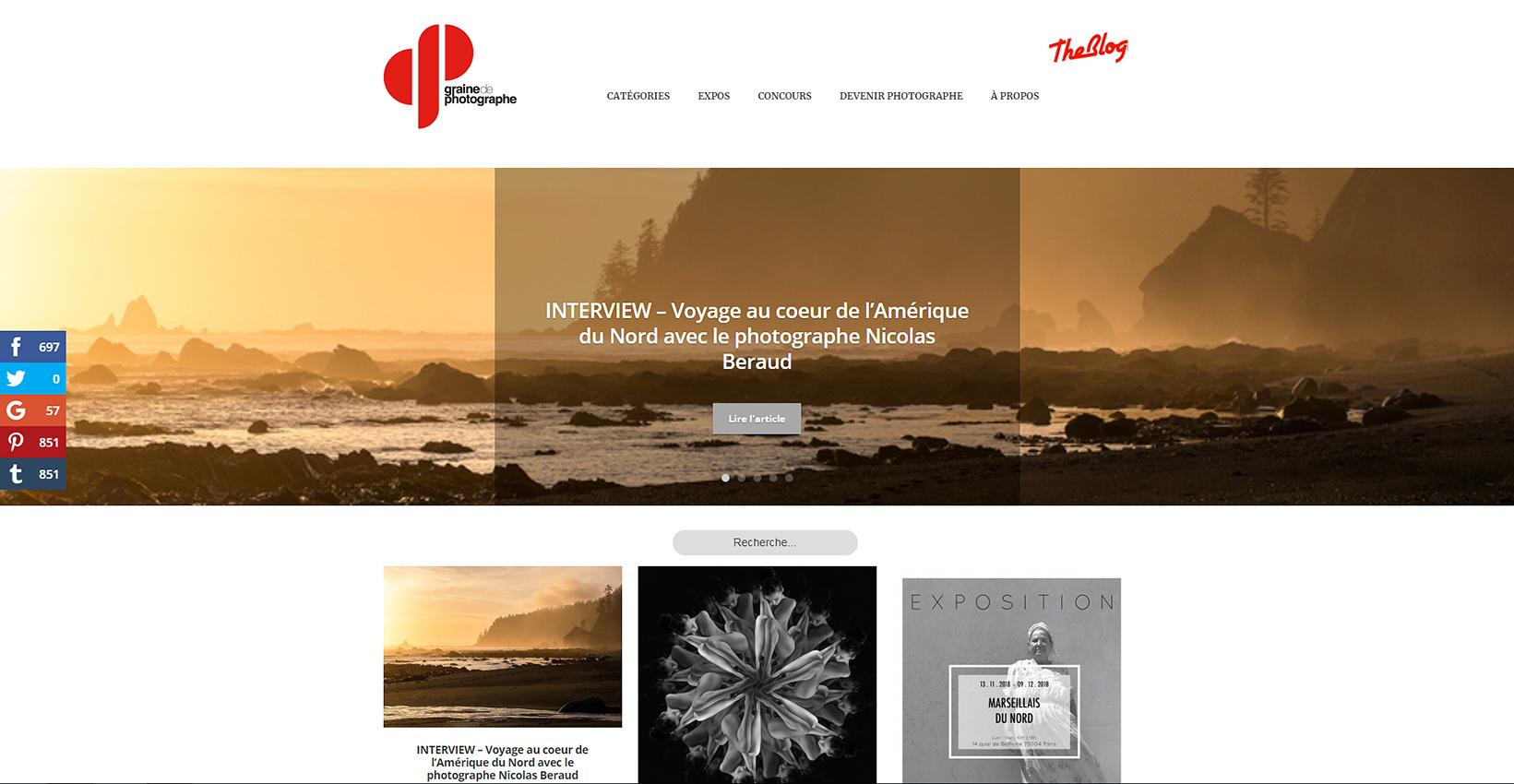 """Parution du reportage """"Au bord du Pacifique"""" dans la rubrique """"Animaux & Nature"""" du site web Graine de Photographe."""