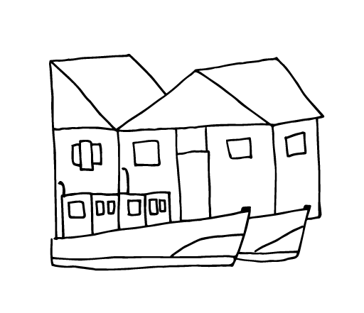 A line drawing of two houses and two boats.