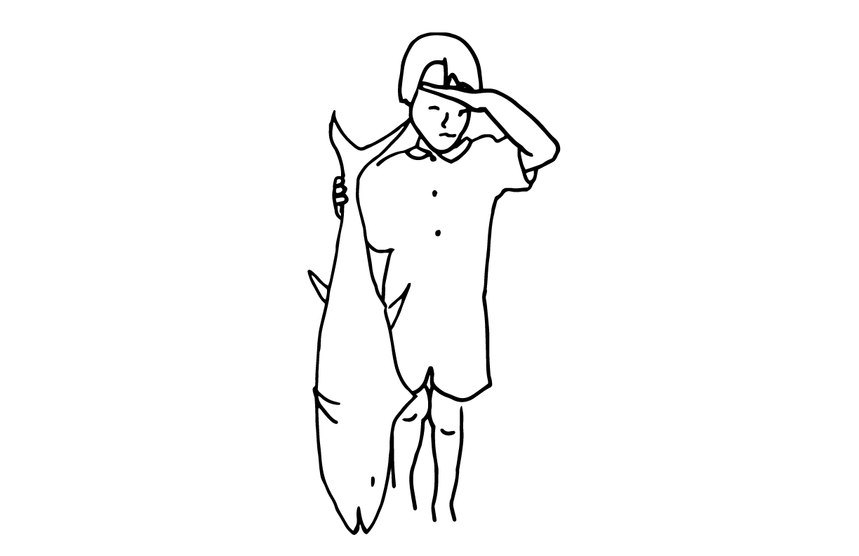 A line drawing of a child holding a fish.