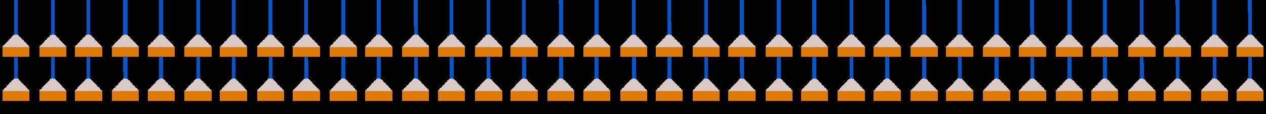 A geometric pattern of buoys.