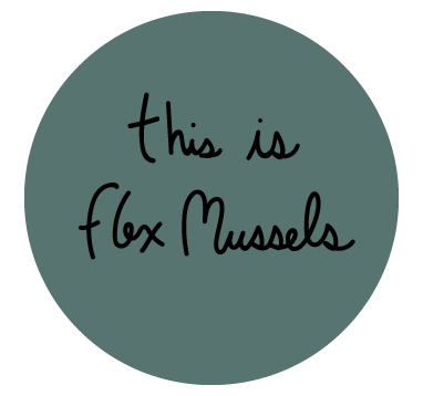 """A green circle that says """"this is flex mussels"""" inside of it."""