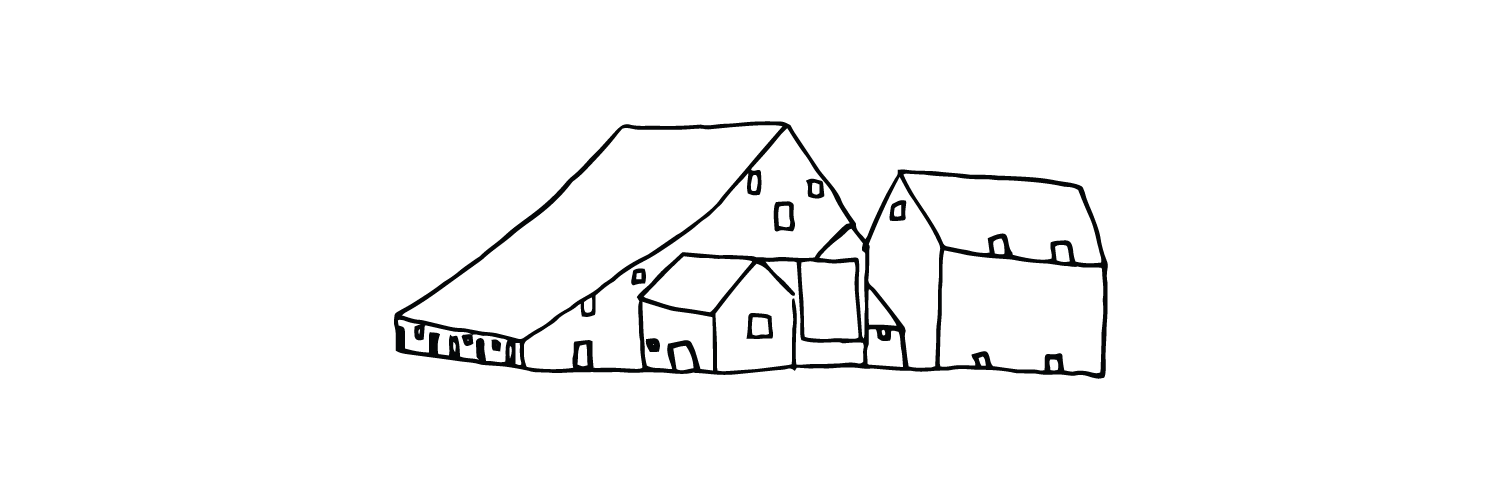 A line drawing of three houses.