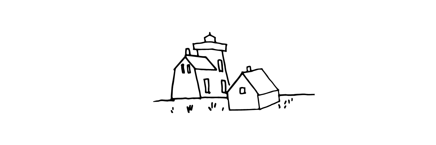 A line drawing of a lighthouse and a small house.