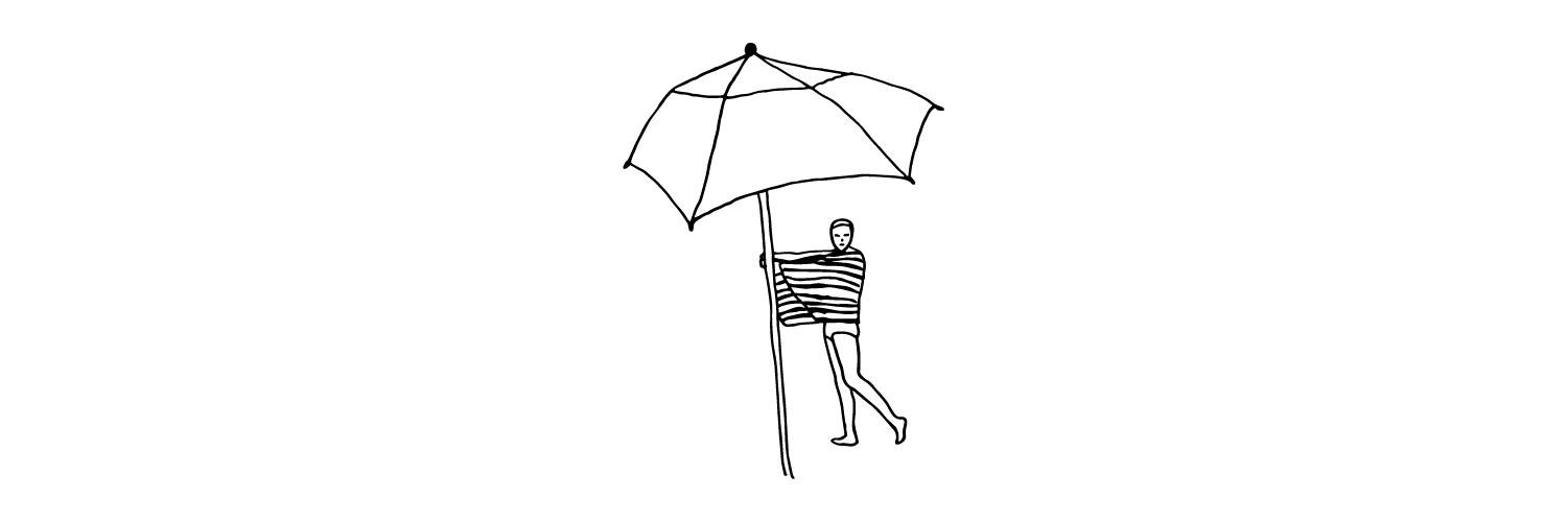 Line drawing of girl wrapped in beach towel with umbrella