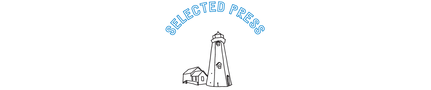 "Text that says ""selected press"" with a line drawing of a lighthouse below it."