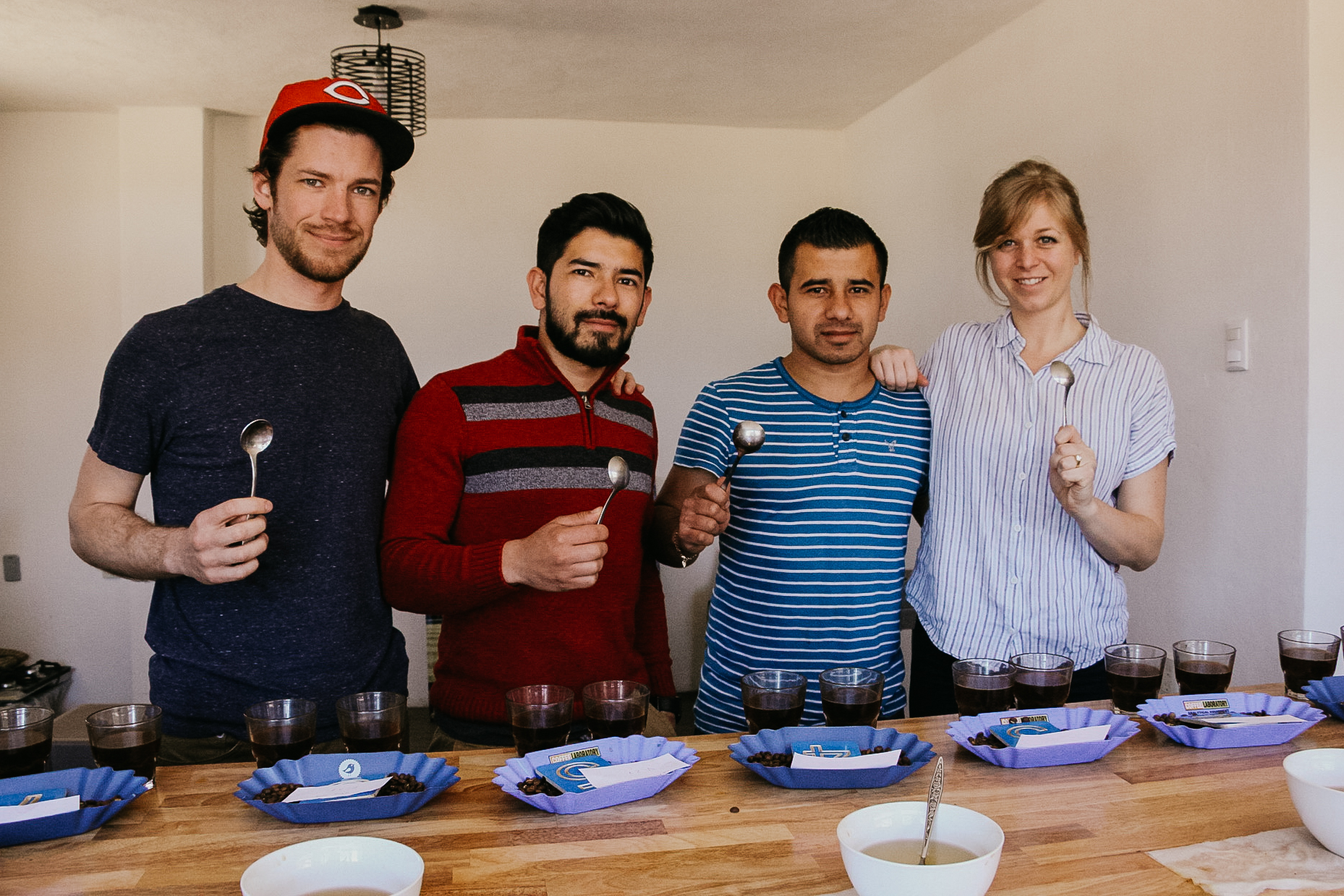 Showing off those spoons after our cupping.