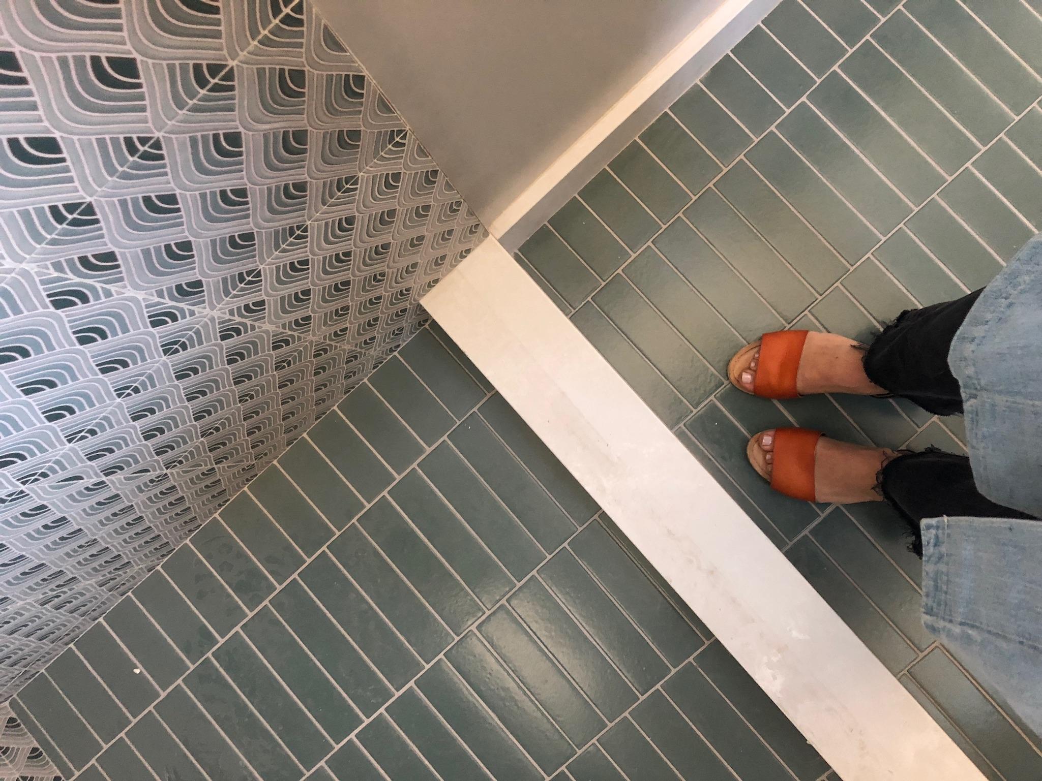 Custom Fireclay tile for the shared bathroom