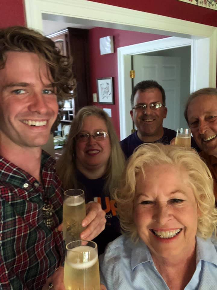 Selfie of our family. Grandson Chess, Son-in-law Tony, Daughter Angela, Butch, and me.