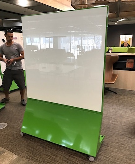 """Custom """"Viper Green"""" Enscribe Mobile Magnetic Glass Boards with vivid white glass. Happy client! #madeinmelbourne #madeinaustralia #enscribe #magneticglassboards #magneticglass #glass #whiteboard #mobilewhiteboard #visualcommunication #writingboards #noteboard #pinboard #noticeboard #communication #teamwork #collaboration"""