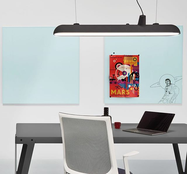 Enscribe 1200 x 1200 Magnetic Glass Boards in light blue. Right board with custom line art print. Also featuring the gorgeous Lloyd Table and Luftschiff from @functionals