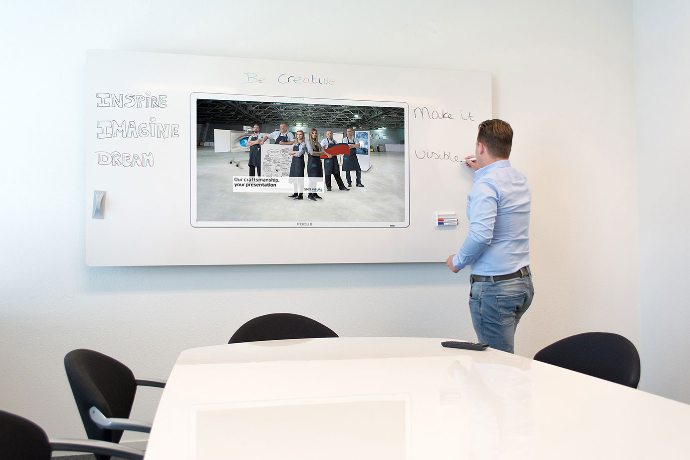 Chameleon Surround - A digital screen is the optimum medium for delivering a digital presentation. However, if new ideas and comments are raised during the presentation, a whiteboard is useful. Chameleon Surround is a whiteboard frame around a touchscreen, developed with design in mind. The best of both worlds in one solution.