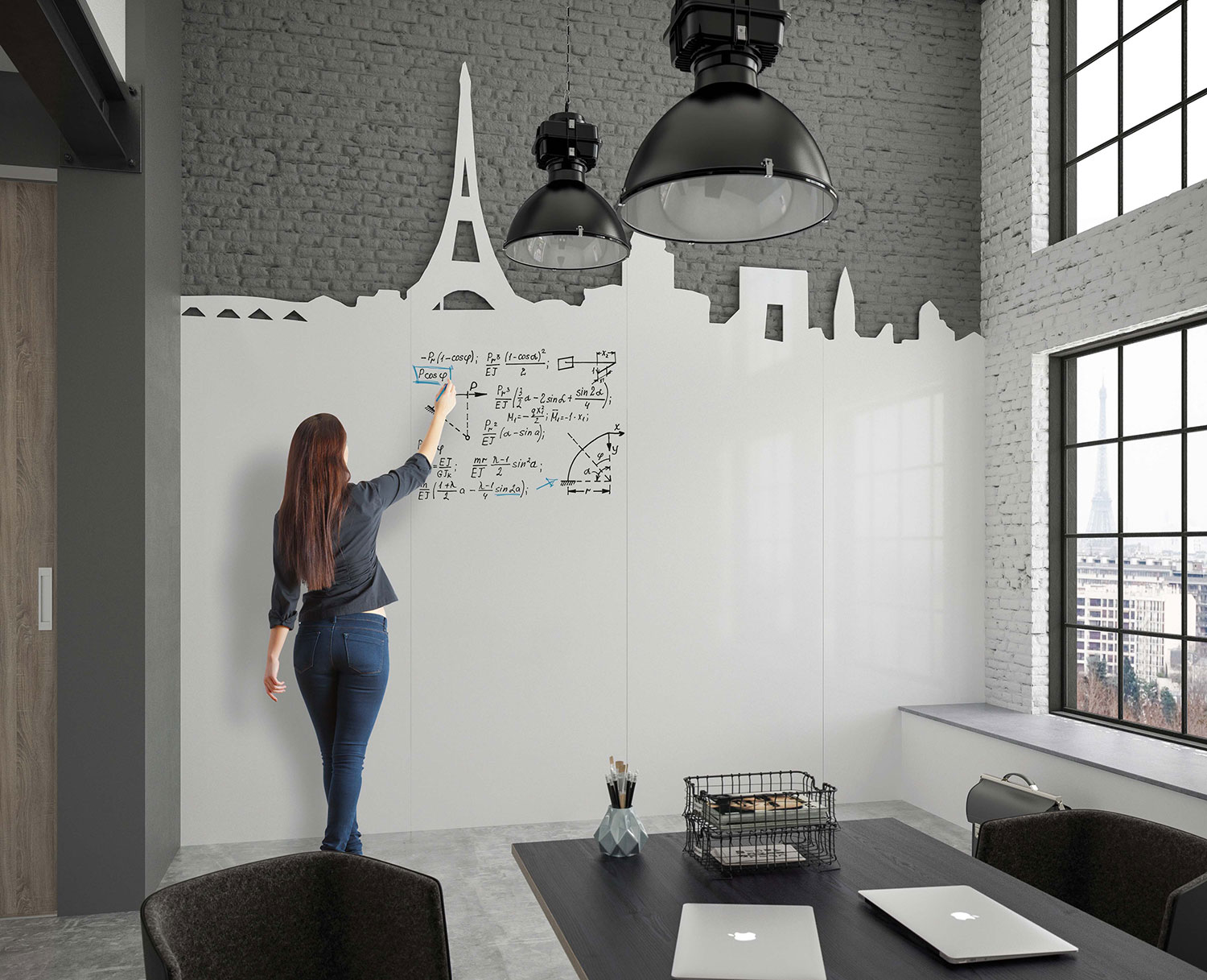 Chameleon Custom - A whiteboard wall that exactly fits the room. Your logo as a cut-out with a full-colour print behind it. A creative shape cut out at the top of the board. A cut-out for a screen or other functional applications