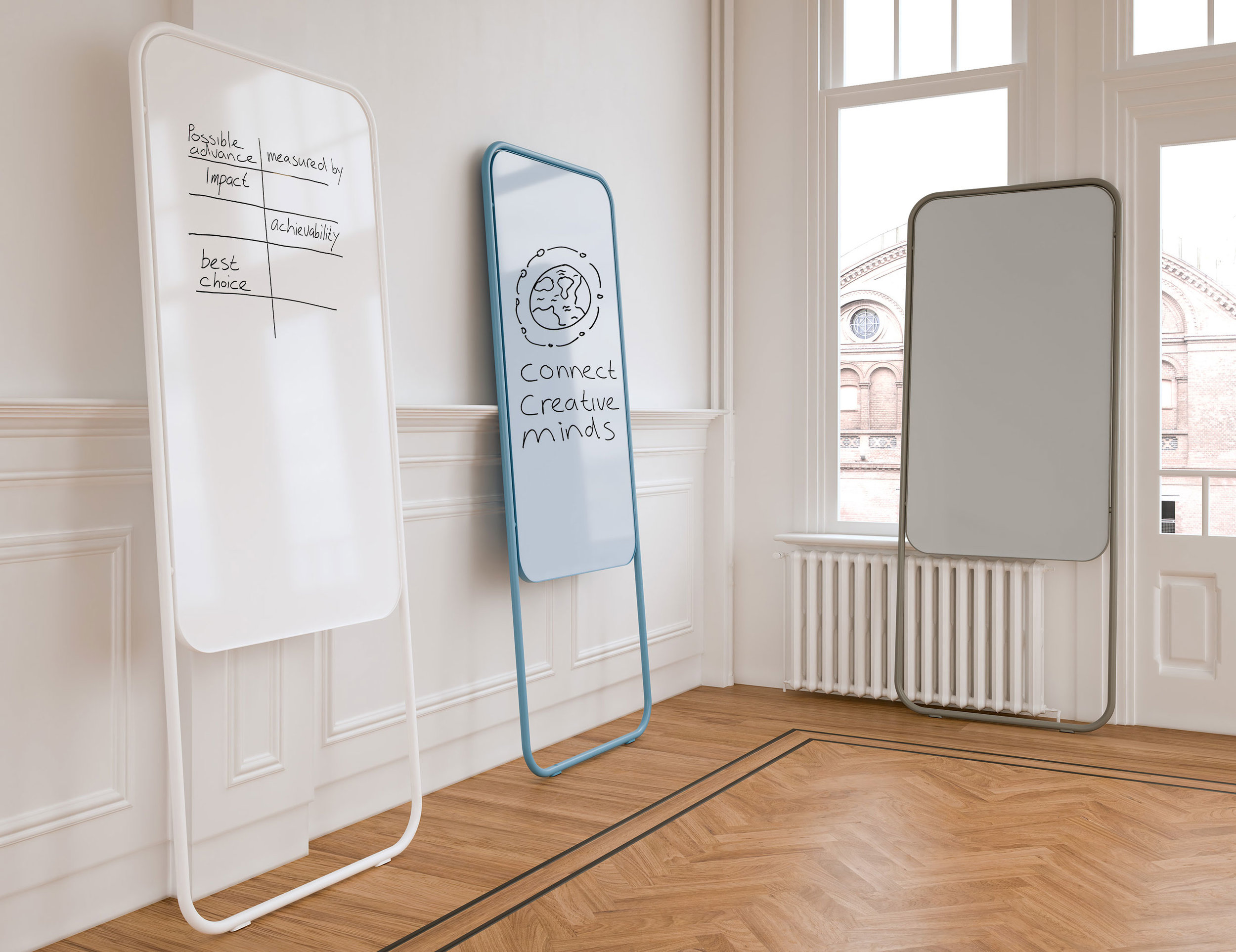 Chameleon Momentum - For many organisations, spontaneous consultations are the basis for streamlined communication. Most importantly, the best ideas emerge from the resulting creative flow. Therefore, Chameleon Momentum is the go-to movable whiteboard for recording these results.