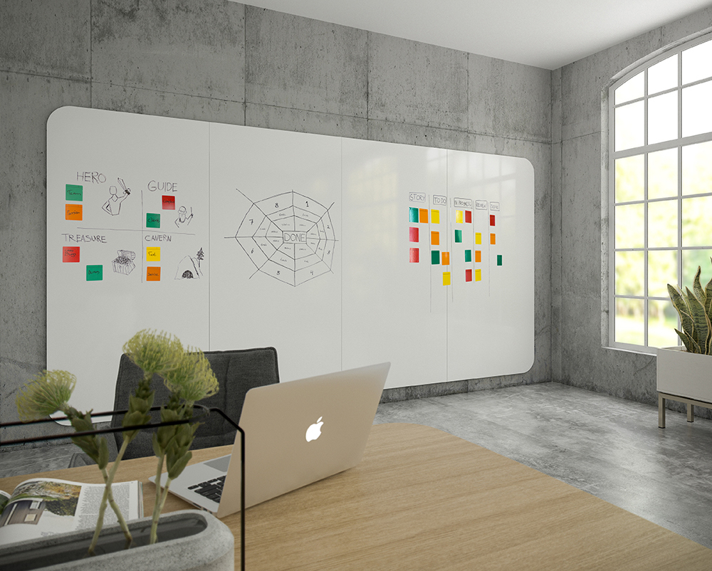 Chameleon VisuWall - Visualise your plans, ideas and projects on this unique whiteboard wall. The black lacquered edges and rounded corners give this product it's distinctive appearance.