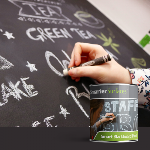 Smart Chalkboard Paint - Smart Chalkboard Paint allows you to create a blackboard area with a durable matt black finish. This product can be applied to any smooth non-porous surface including drywall, wood, plaster and metal.