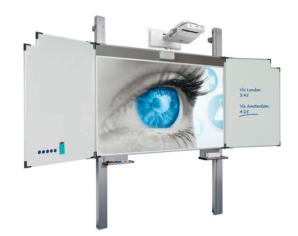 Projection, writing and magnetic board on columns - Writable and dry-erasable projection board on columns. Projection boards are made of matt-white enamelled steel. Suitable for board markers and projection.