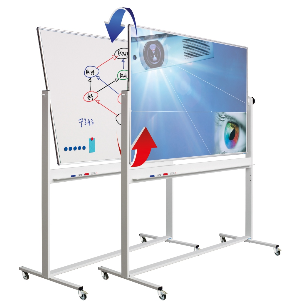 Revolving projection, magnetic and dry erase combination board - Revolving board, writable on both sides. One side is made of white enamel steel, the other side of special Mica projection steel.