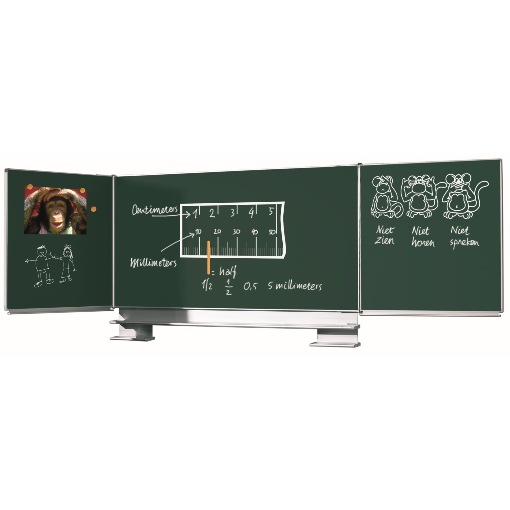 Multi surface board with solid wall mounts - Enamel steel board available in white (800ºC) for dry erase or green for chalk, with 5 writing surfaces.