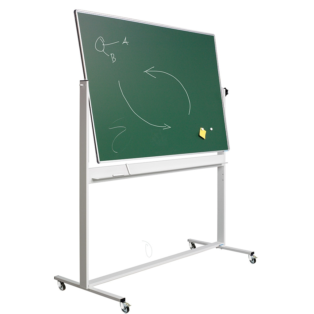 Revolving board in chalk green - Double sided magnetic board for writing on, made of green enamel steel and with aluminium RC-profile.