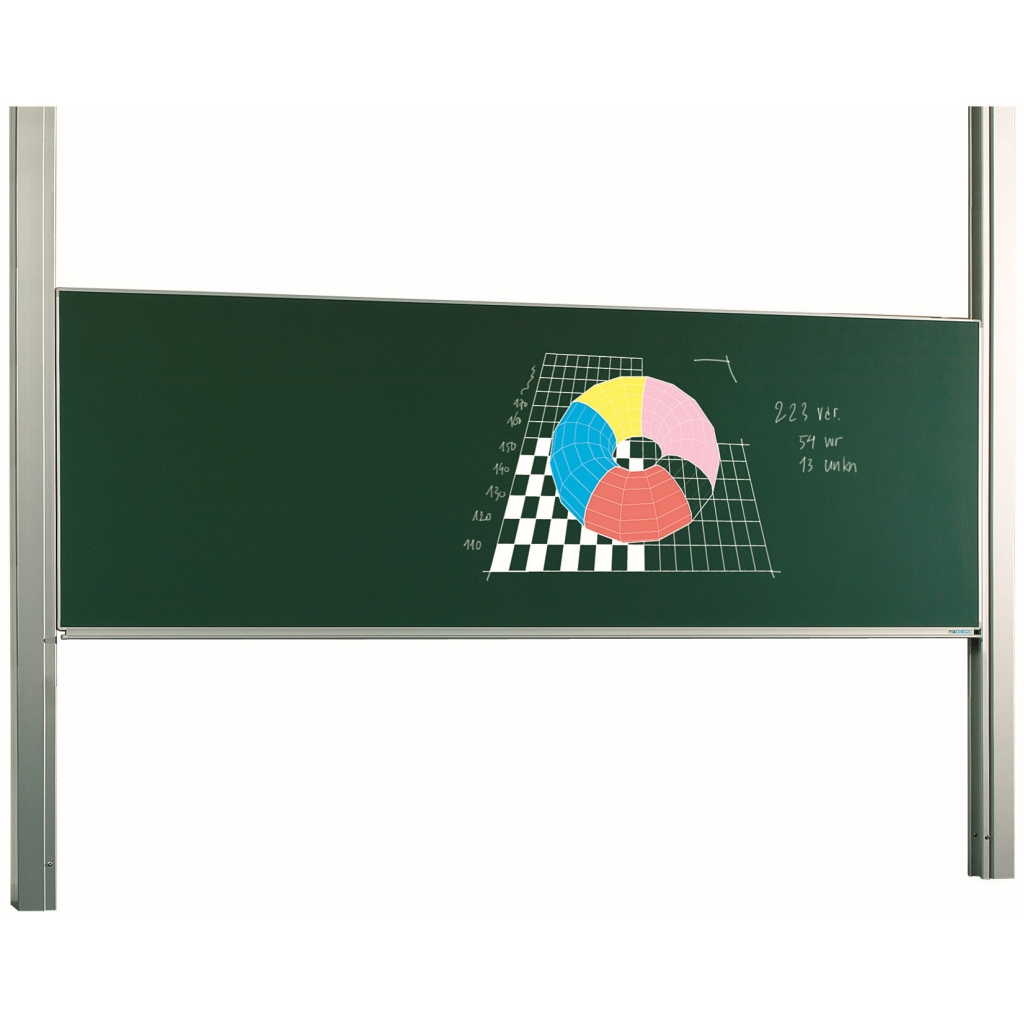 Single surface board on height adjustable columns - Enamel steel board available in white (800ºC) for dry erase or green for chalk,.
