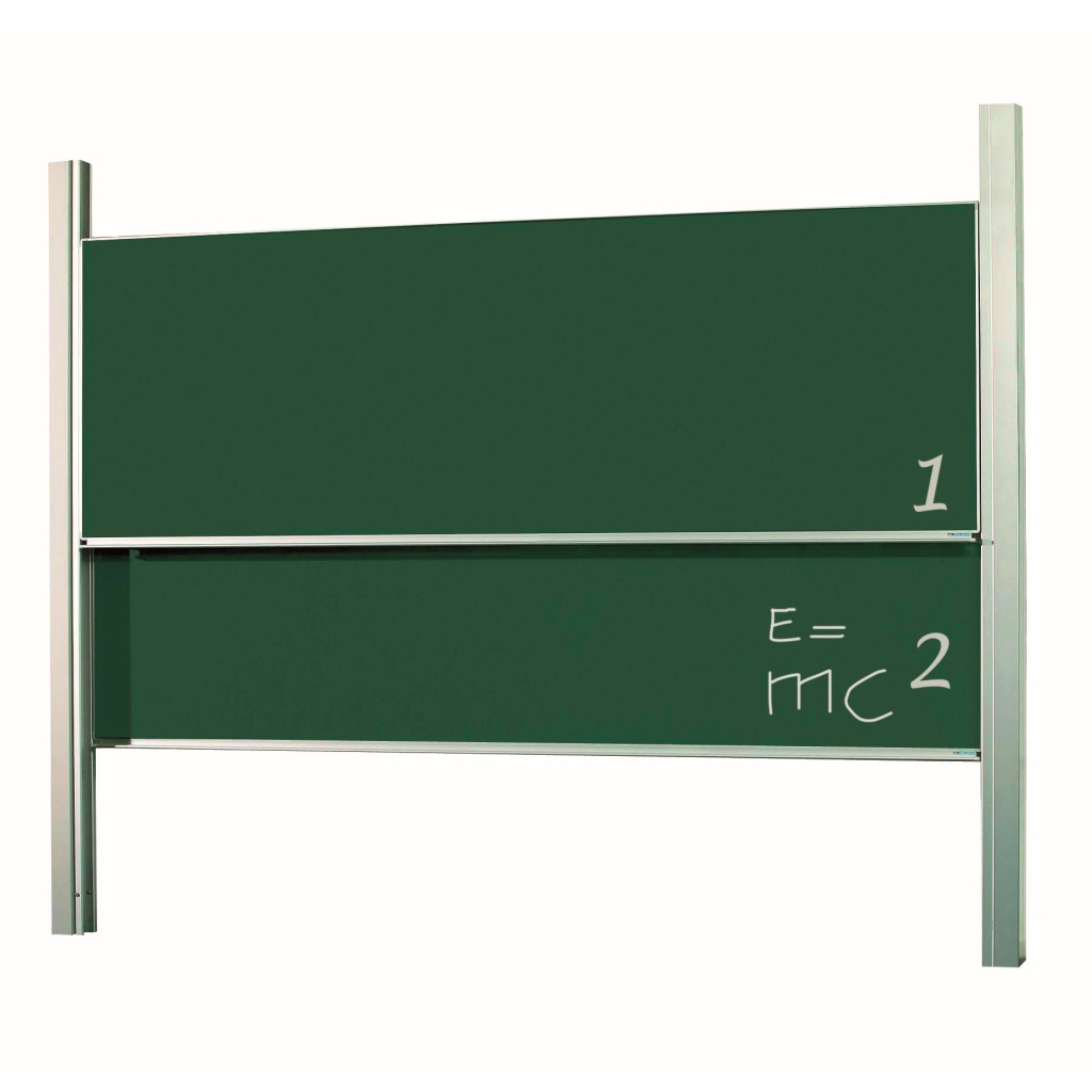Double height adjustable column boards - Enamel steel boards available in white (800ºC) for dry erase or green for chalk,.