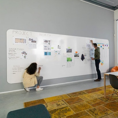 Visualise your plans, ideas and projects on this unique whiteboard wall.  Chameleon VisuWall - available in 3 sizes.  Enscribe.com.au #visuwall #communication #visualcommunication #enscribe #envoy #kanban #noticeboards #whiteboard #magneticsurface #collaboration #innovation #melbournelife #sydneylife #architects #whiteboardwalls