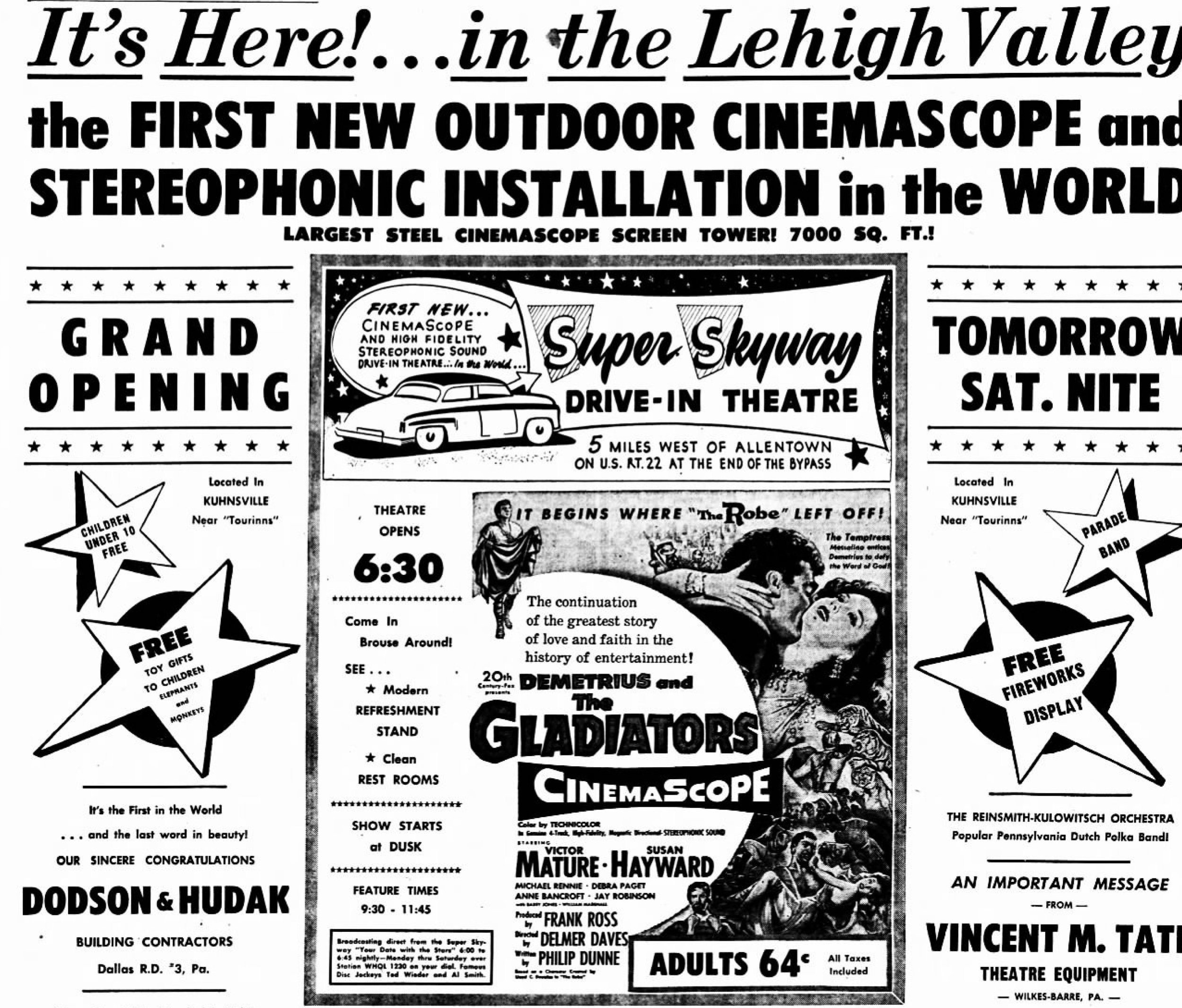 Super Skyway Drive-In theater advertisement (Aug 13, 1954  Morning Call , Allentown PA)