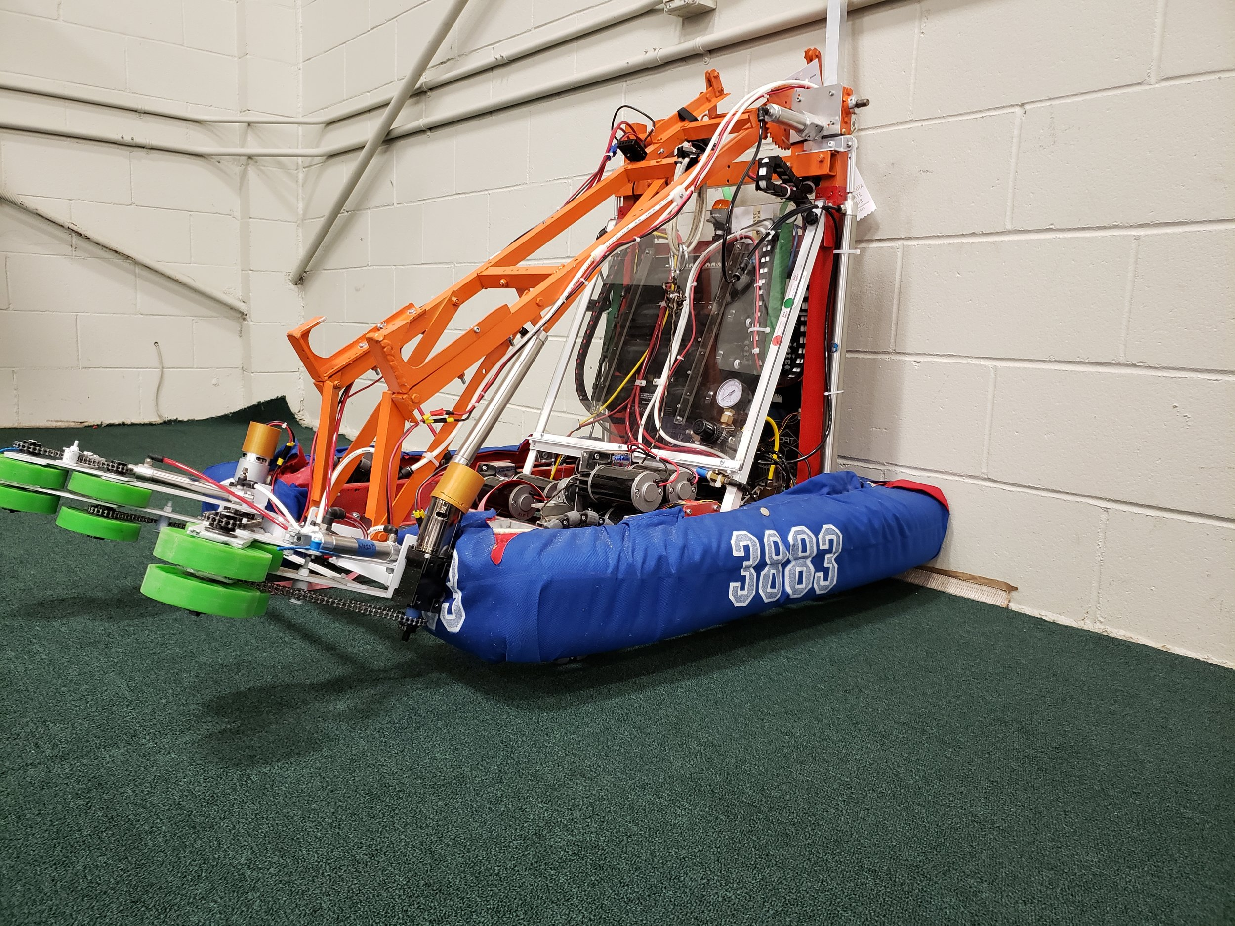 "2018 - Tails - This was our robot made for the 2018 season. Named for the sonic character which fit the year's game. Our robot was designed to launch power cubes and lift itself from the platform.This robot was designed for the 2018 season known as, ""FIRST Power Up!"". The objective was to gain points by capturing switches and a scale through power cubes. These power cubes could also be put into the vault to earn certain power ups. The end game objective was to climb the scale above a certain point.Game Animation"