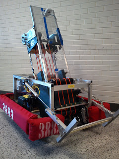 "2012 - Mortar Bot - This was our 2012 robot named after its design, looking vaguely like a mortar. Our shooter preformed adequately, though its balance was on point being one of the greatest parts of this bot. On that year, we preformed the best we have in any of our competitions.This robot was designed for the game, ""Rebound Rumble"". The aim of the game was to shoot baskets into the highest hoops for more points. The end game period purpose was to balance on a bridge, the more robots on the bridge, the more points are earned.Game Animation"
