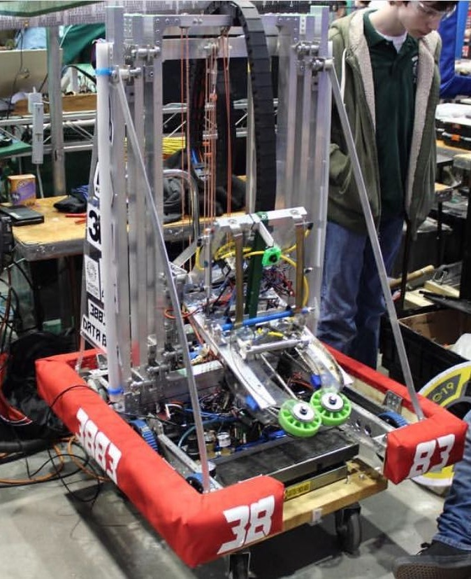 "Silver - This robot was built in 2019. We named it to keep with the theme of sonic characters. The robot was designed to do as much as possible, being able to do everything except climb the platform to a high level.This robot was made for the 2019 season known as ""Destination Deep Space"". The objective is to attach hatch panels onto the cargo ships and rockets through hook and loop tape as well as launch cargo into them. This year's game innovated through allowing the use of vision software during the sandstorm period.Game Animation"