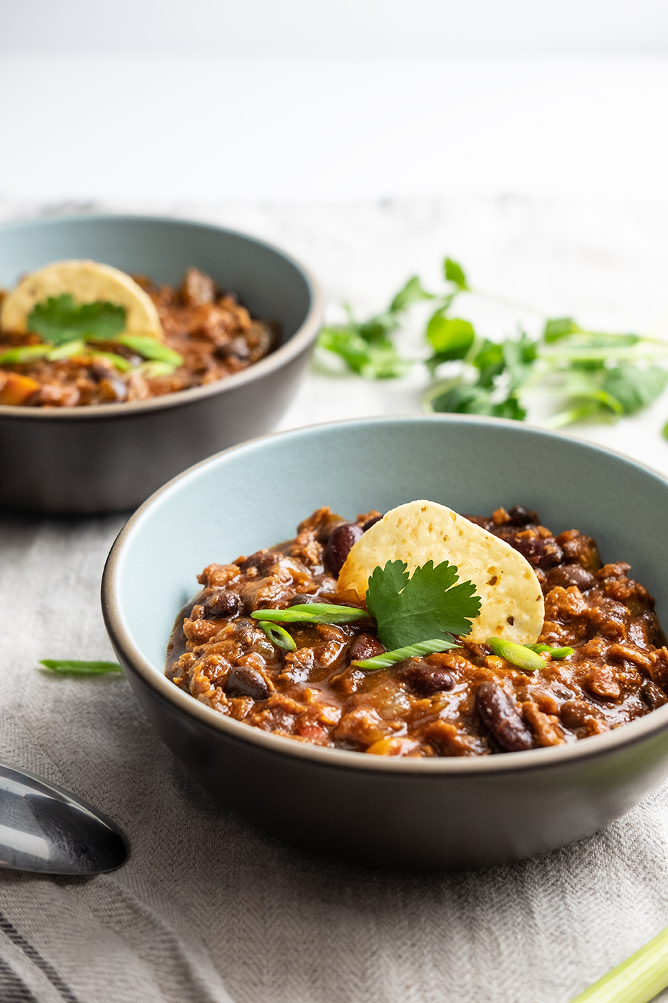 Vegetarian Chili with Beans and Veggie Crumbles