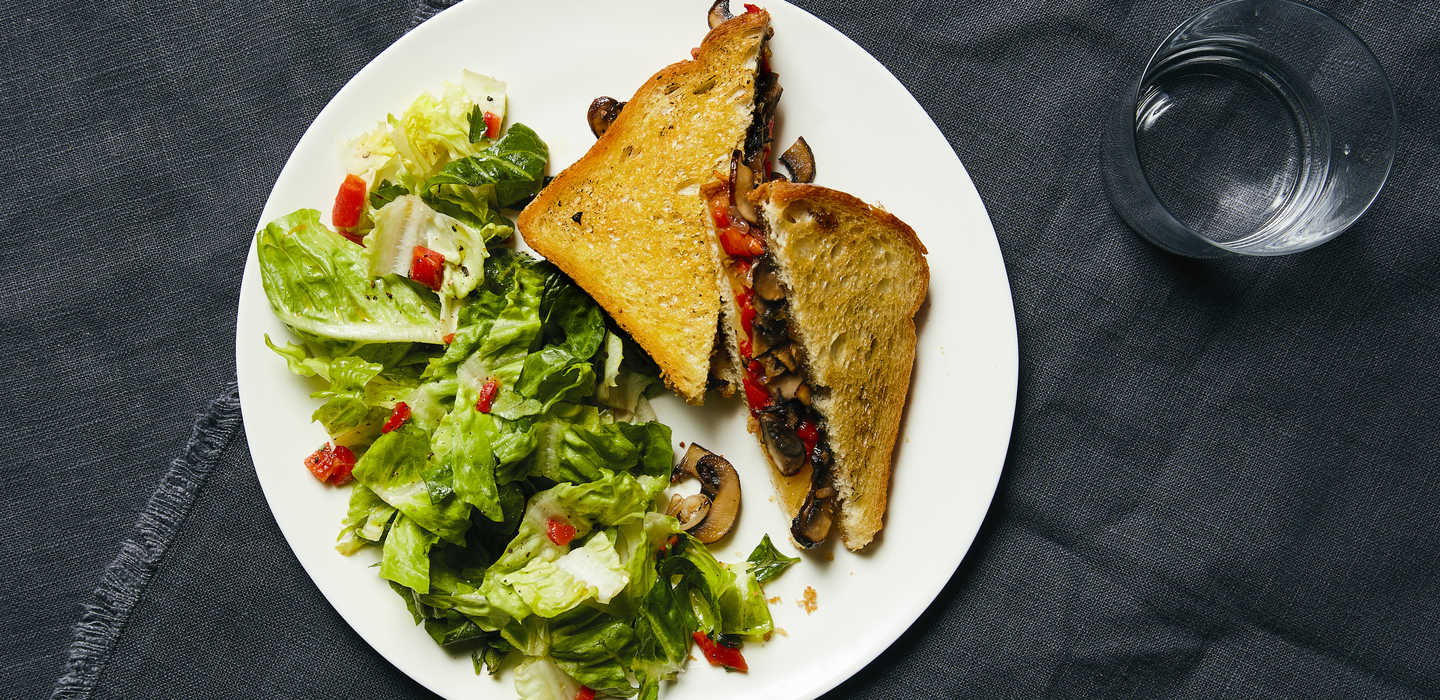 BEST Plated:  Mushroom Provolone Panini with Fig Jam  (770 Calories)  WW: 14