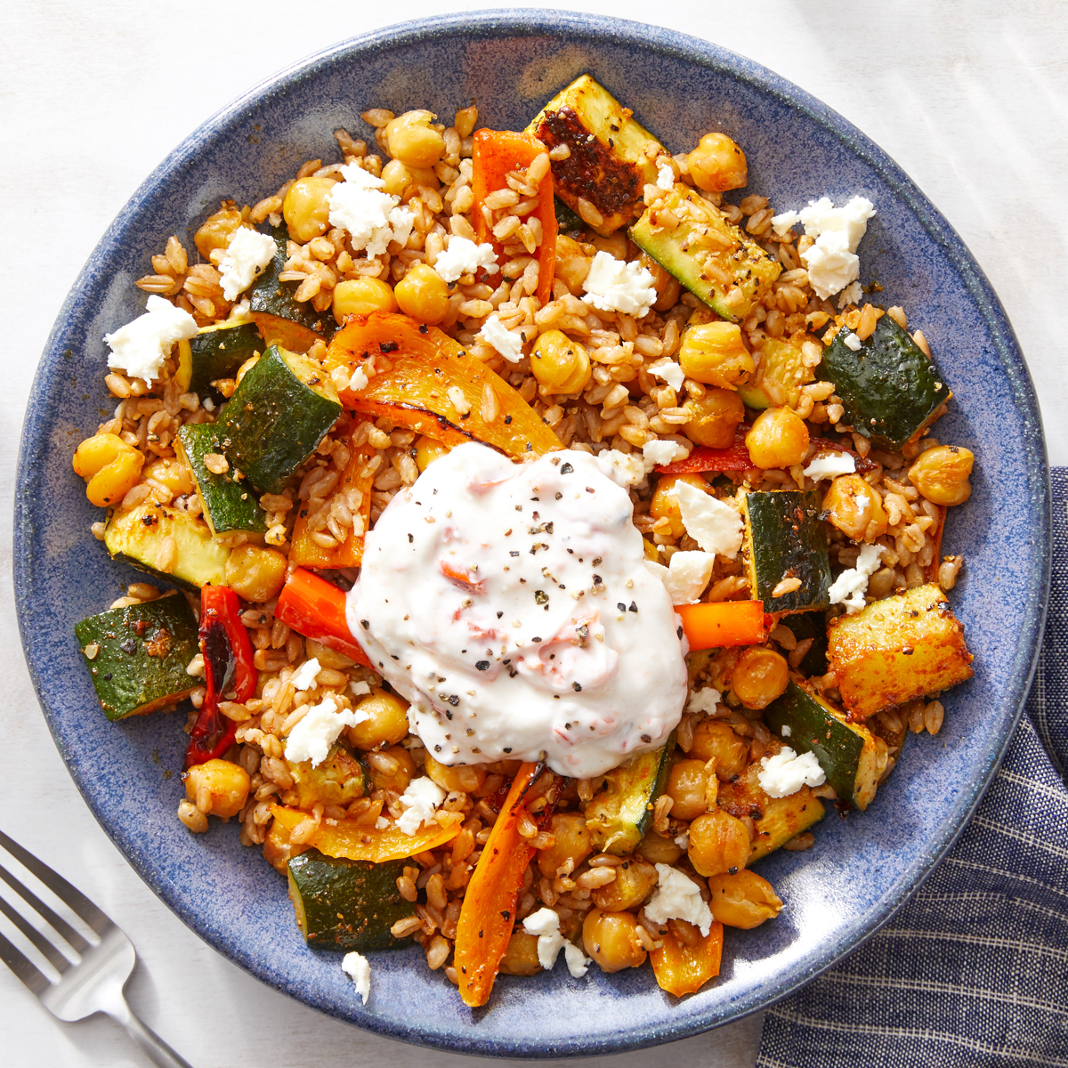 BEST Blue Apron:  Roasted Vegetable Grain Bowl with Crispy Chickpeas ( 540 Calories)  WWP: 7 (Lowest Recipe)