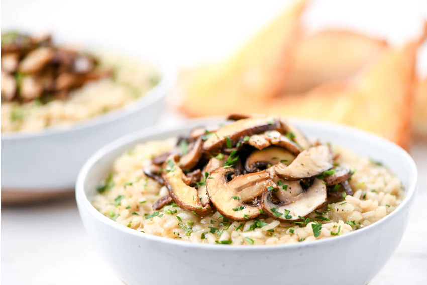 BEST Home Chef:  Triple Mushroom Risotto with Toasted Baguette  (748 Calories)  .   WW: 17