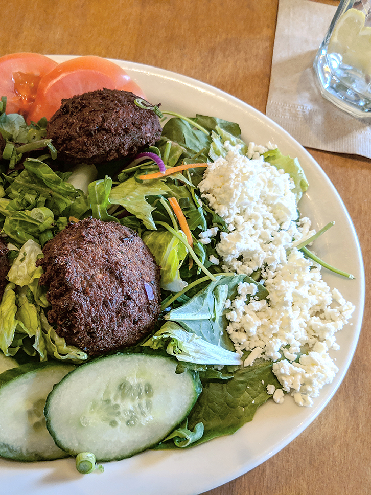 Falafel salad with feta cheese from Aladdin's.