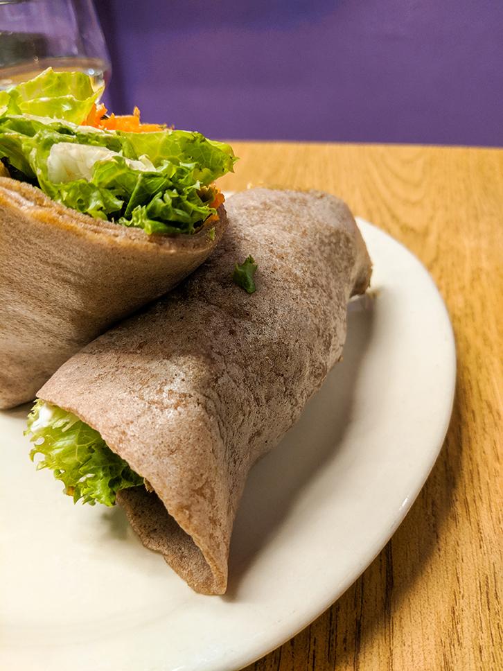 Portia's Cafe Super Power wrap with gluten free tortilla.