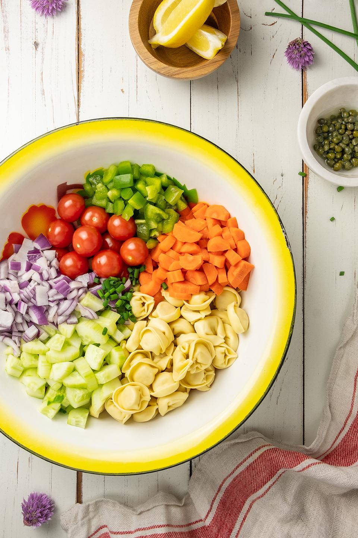 ingredients in a colorful enamel bowl.
