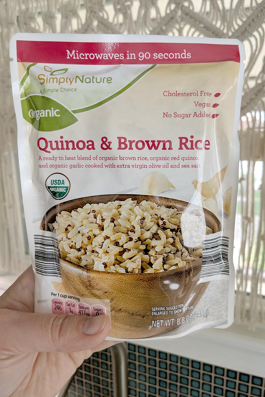Aldi's quinoa and brown rice, 90 seconds to prepare.