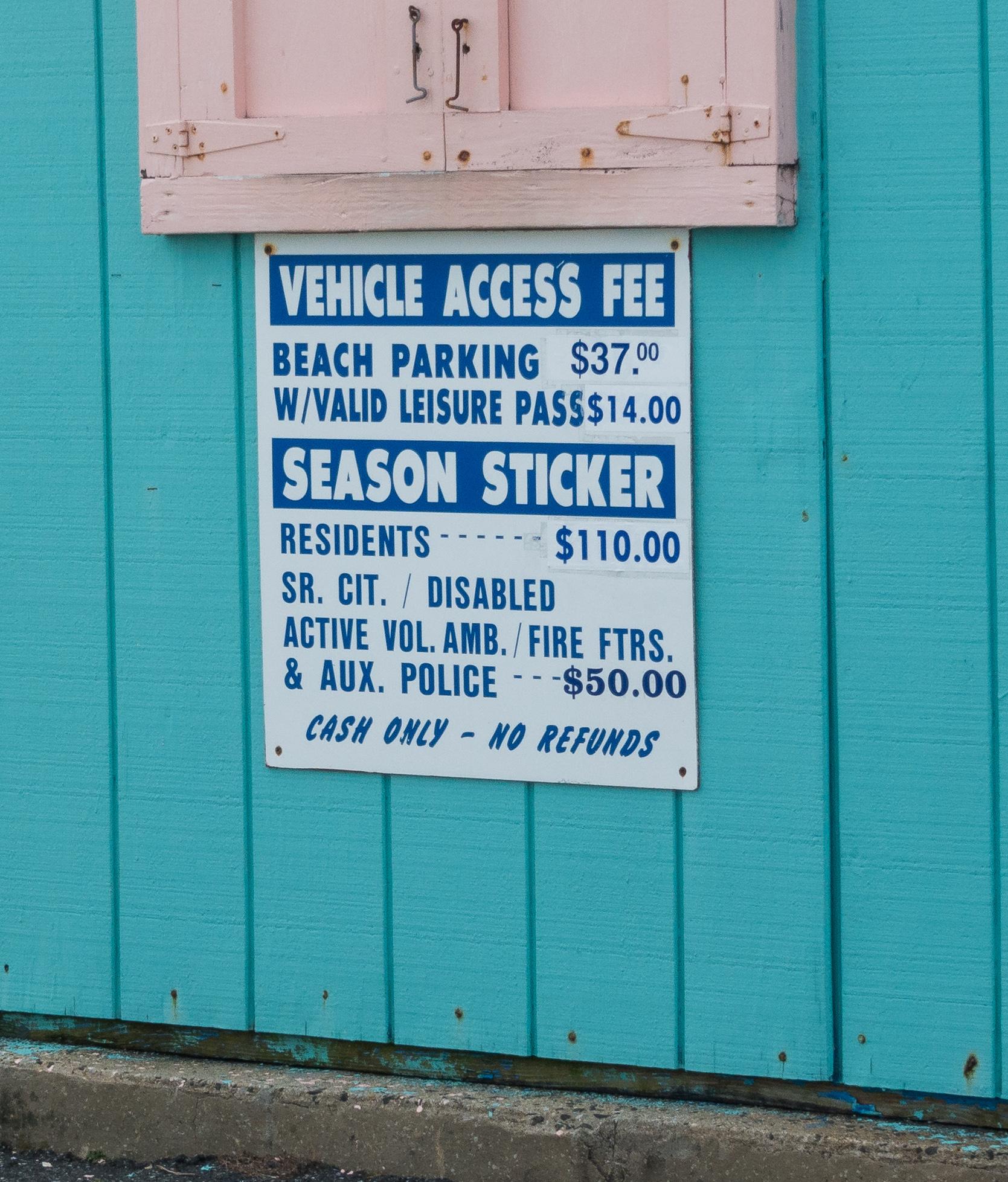 Entrance fees as of Summer 2019 - Nickerson Beach, Long Island, New York, USA