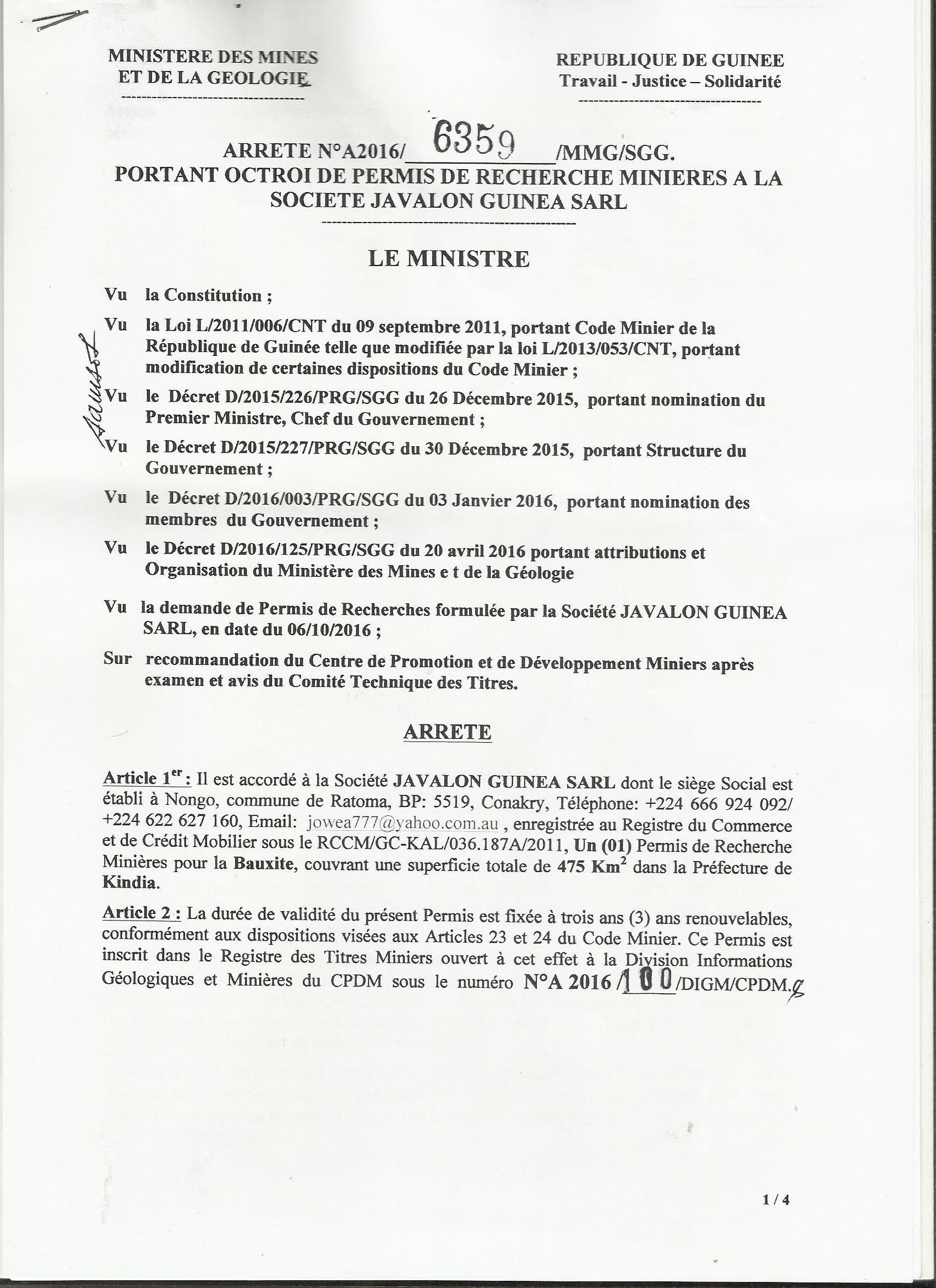 Javalon SARL-Bauxite-Permit