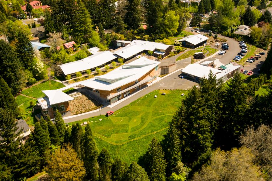 Aerial view of Oregon College of Art and Craft campus, 2005. (OCAC)