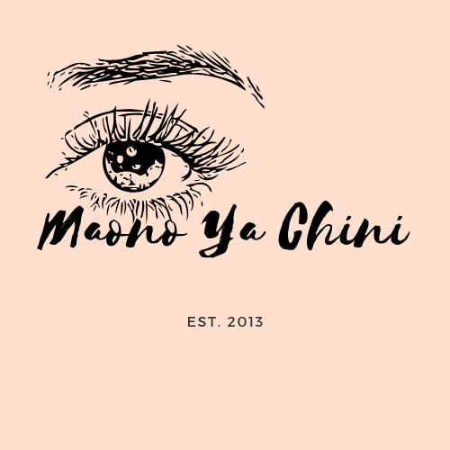Pink background with illustrated eye and text that reads, 'Maono Ya Chini', established 2013.