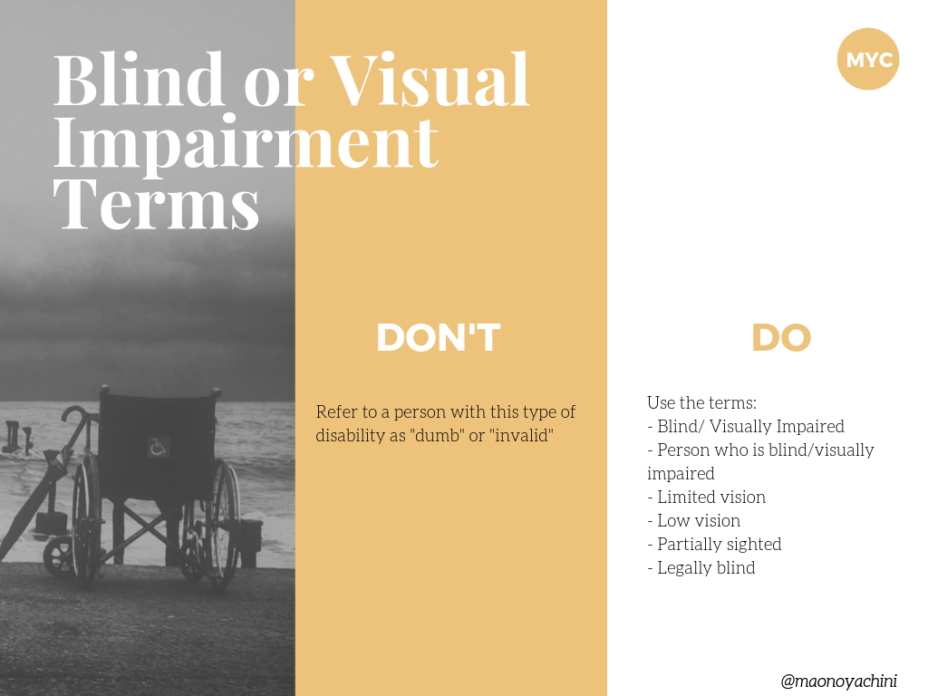 Terms and phrases used for individuals who are Blind or Visually Impaired (1)(2)