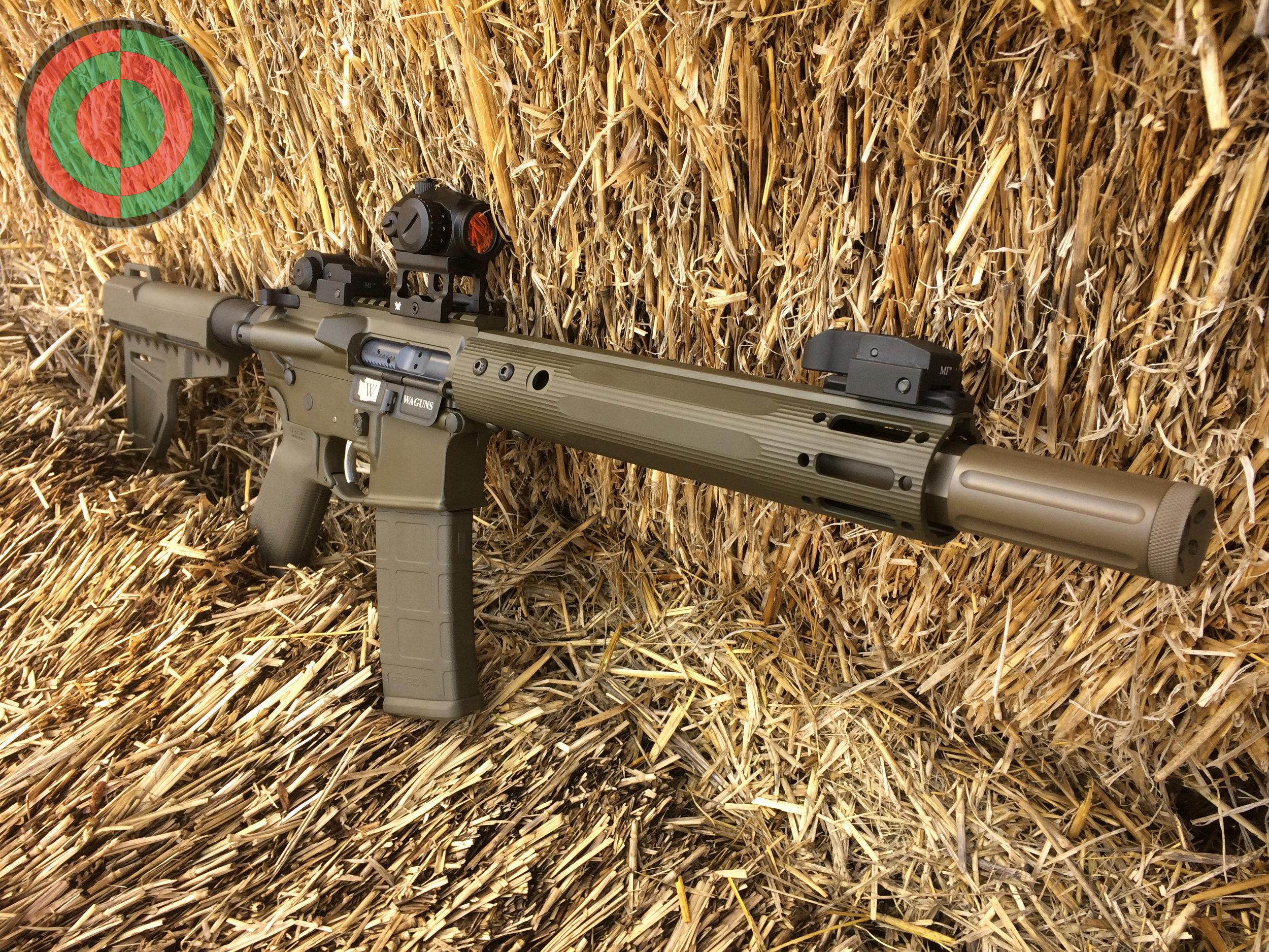458 SOCOM pistol in Cerakote Magpul O.D. Green and Patriot Brown.