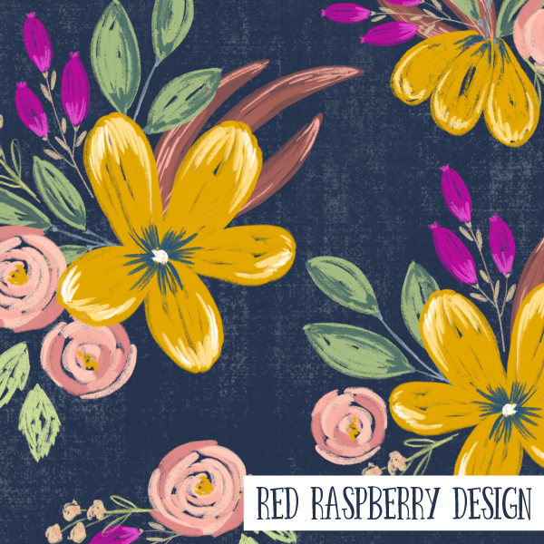 Bright Yellow Floral by Red Raspberry Design