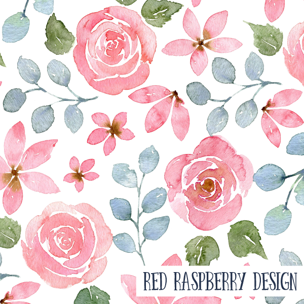 Pink Floral Watercolour by Red Raspberry Design