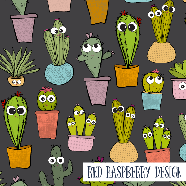 Happy Cacti, Sad Cacti by Red Raspberry Design